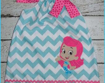 Molly Bubble Guppies Pillowcase style dress Aqua Chevron and hot pink polka dot