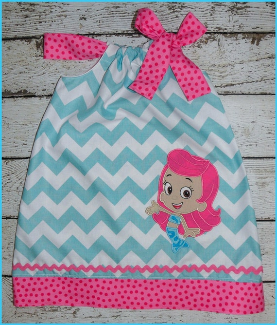 Molly Bubble Guppies Pillowcase style dress Aqua Chevron and hot pink polka dot