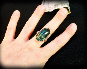 925 Silver ring with seraphinit, 925 silver ring with clinochlore, very rare stone