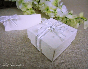 White Floral Embossed Favour Boxes and Place Cards with Pearl Diamante