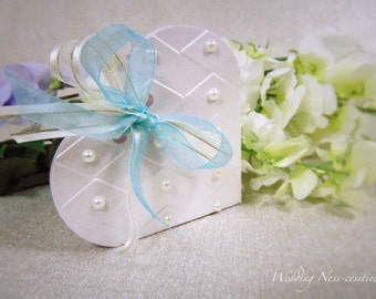 Pearl Heart-Shaped Favour Box with Blue Ribbon