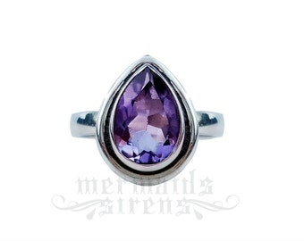 Mermaid tear ring - faceted amethyst - wicca sea witch sterling silver 925 MERMAIDS AND SIRENS