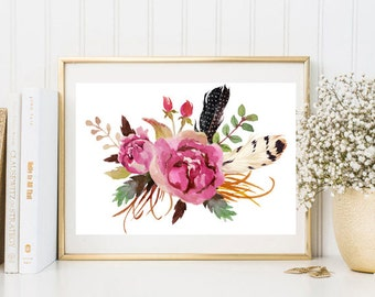 Rustic bouquet watercolor print flowers feather pink purple watercolor wall art print printable floral print watercolor poster home decor