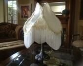 SALE White Shabby Victorian Lampshade Cottage Romantic Fringe Lampshade