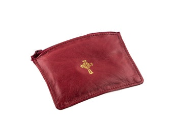 9501 Red Sheepskin Leather Rosary/Coin Case