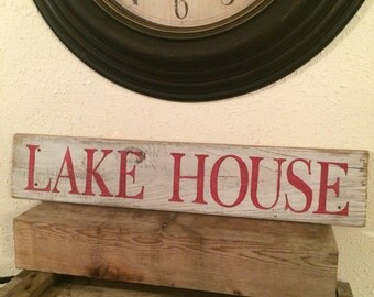 Lake house sign on reclaimed wood
