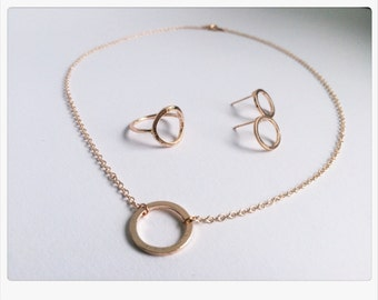 Jewelry set circle, necklace, earrings, ring, Circle of Life in ROSÉGOLD