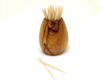 Olive wood toothpicks holder