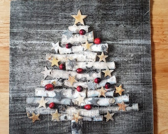 Set of 4 Rustic Christmas Tree Paper Lunch Napkins Party Decoupage Collage Scrapbooking #020