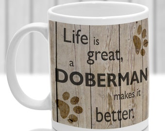 Doberman dog mug, Doberman dog gift, ideal present for dog lover