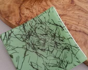 Mint Green Fused Glass Trinket Dish