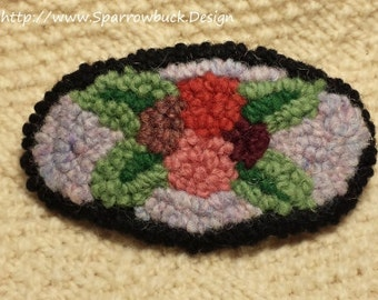 Rug Hooked Eastern Teaberry French Barrette