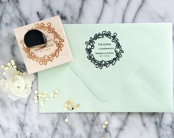 Illustrated Wreath Return Address Rubber Stamp