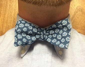 Blue Floral Pattern Handmade Adjustable Bow Tie