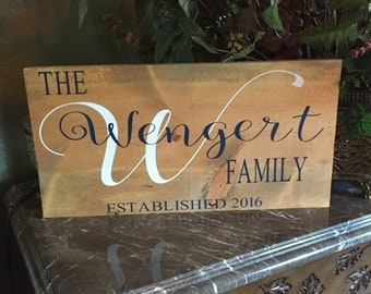 Family name established hand painted wooden sign