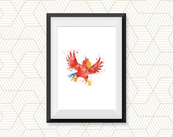 Parrot watercolor poster, Watercolor Print Print Children's Wall Art Home Decor Wall Hanging