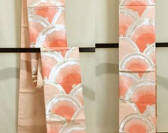 K094 Beautiful Obi Light Pink Kimono Belt Fukuroobi