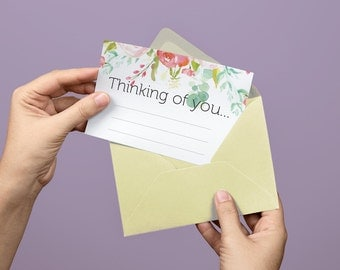 Floral Printable Thinking of You Card Stationery