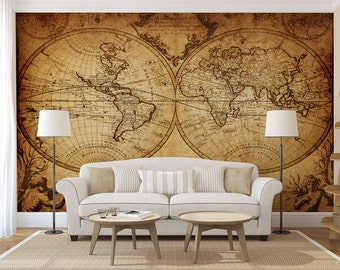 Old map WALL MURAL, self adhesive large 3d photo mural, sticker, wallpaper