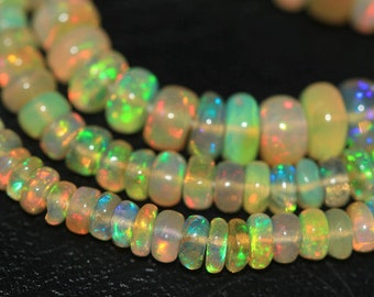 Welo Ethiopian Opal Smooth Rondelle Loose Beads Strand - 16 inches - 2 MM 5 MM - Jewelry Making