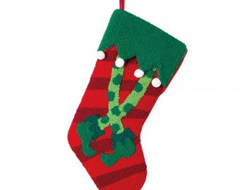 "Christmas Hooked Stocking  Elf Legs 19.7""H"