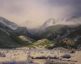 Pastel: Moraine Park in the snow, Rocky Mountain National Park, CO