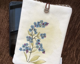 Hand painted, embroidered Forget me not - iPad mini / kindle fire cover