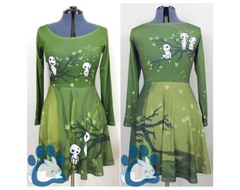 Princess Mononoke Kodama Skater Dress Miyazaki Cosplay Costume [6-8 Week Processing Time MADE to ORDER] MinZ Print | Bunni Designs