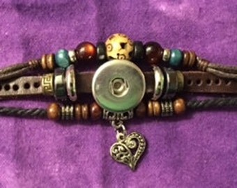 Genuine Leather Snap Bracelet with Beads and a Dangling Heart