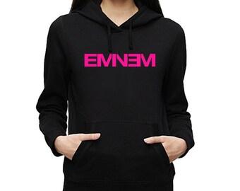 Eminem Pink Logo Hoodie Fleece Girls Sweatshirt Womens Pullover Ladies Black New Slim Shady Vintage Style Hip Hop Rap Detroit New