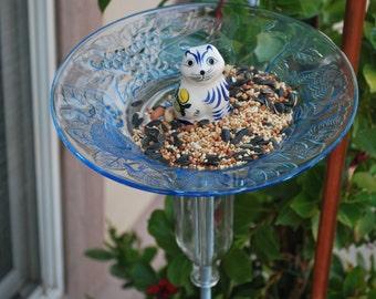 Recycled Garden Art - Glass Plate Bird Feeder with Cat Figurine