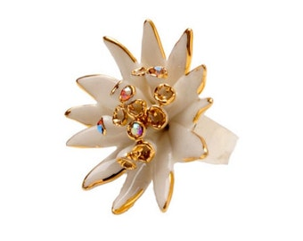 Porcelain Gold Astrania Ring/ Astrania / Ring/ Porcelain Ring/ Gold Astrania / Flower Ring/ Fower