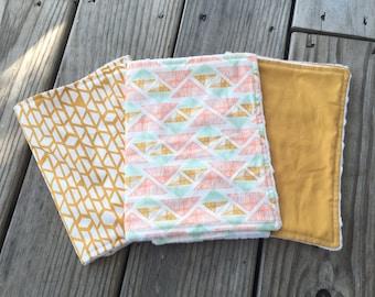 Burp Cloths - Set of 3 - Golden Tribal Print Theme