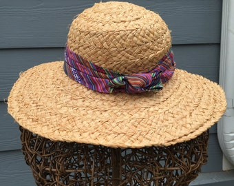 Cappelli Straw Hat with Striped Band