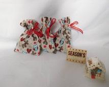 set of 3 gift bags, fabric gift bags, Christmas gift bags, christmas gift, reusable bag, gift card holder