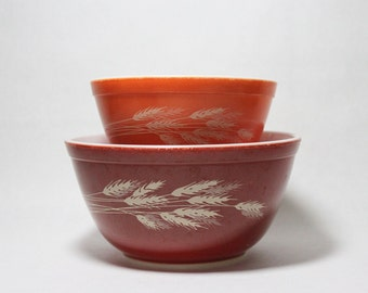 Vintage Pyrex, Pair of Mixing Bowls, Autumn Harvest Wheat, Pyrex 401, 402, Vintage from 1970s