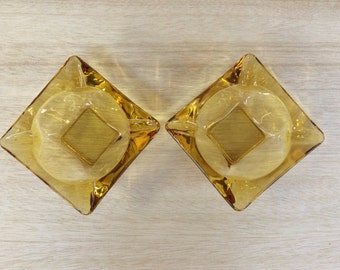 Vintage Retro Mid Century Small Amber Glass Ashtrays  or Air Plant Holders x 2