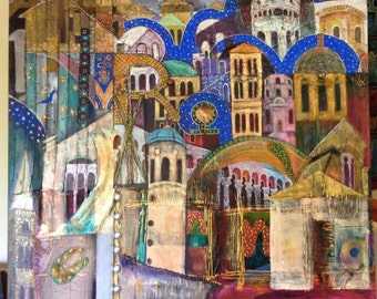 Return to Ravenna - Painting, mixed media, stretched canvas ready to hang