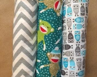 Baby Burp Cloths -- Gender Neutral -- Set of 3