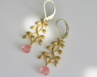 pink earrings, pink and gold earrings, grapefruit pink earrings, gold leaf earrings, gold branch earrings, gold drop earrings