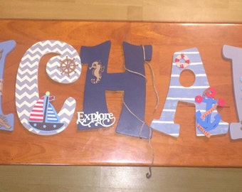 NAUTICAL THEME Hand-painted Wooden Letters
