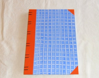 Diary A4 - stripes blue / / guestbook / / sketchbook / / paste paper / / Coptic binding / / gift
