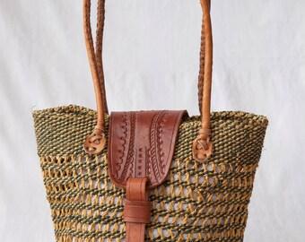 Raw Sisal Basket(Natural/Green)