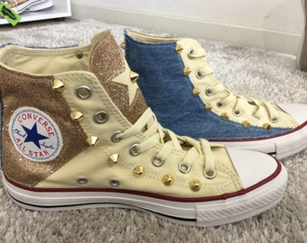 Custom Converse Chuck Taylor! Denim and Gold! Studded Shoes! Be Yourself, Free Yourself!
