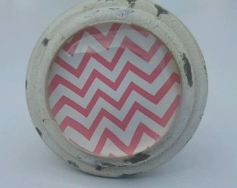 Pink Chevron Stripe Door / Drawer Knob ~ Upcycling Project