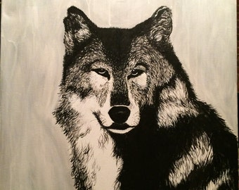 ORIGINAL 20x24 Acrylic Painting on canvas: Lone Wolf