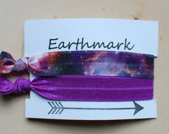 Purple Galaxy Hairbands 2-pack | Fold Over Elastic Hair bands | FOE Hairties | No Crease Hair ties | Ponytail Holder | Stargazer Bracelets