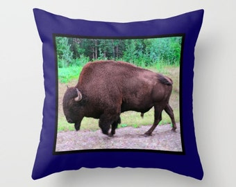 Bison Pillow, Buffalo Pillow, Animal Pillow, Nature Pillow, Bull Pillow, Blue Pillow, Brown Pillow, Throw Pillow Cover, Toss Pillow, Cushion