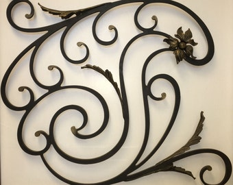 """3/8""""steel ornament with casting painted in bronze accents for railing decore, etc"""