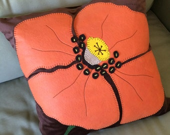 Wool Applique Pillow Etsy